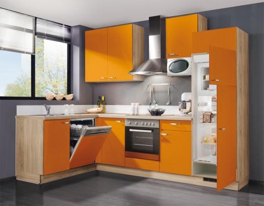 Rohová Slowfox - Kuchyň rohová, 280x175cm (oranžová/horský dub)