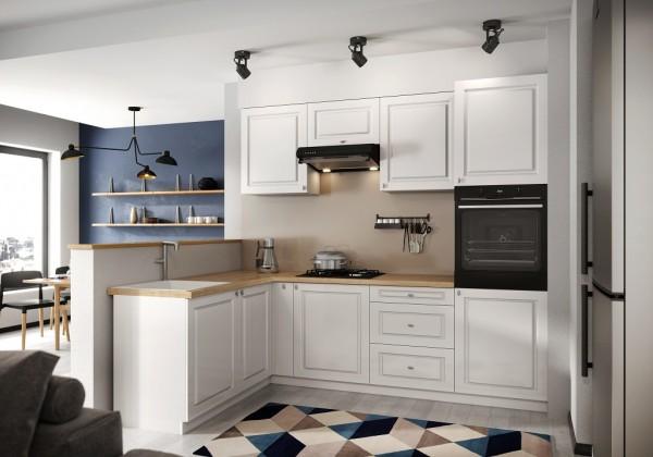 Rohové kuchyně Rohová kuchyně Amelia levý roh 255x170 cm (bílá mat)
