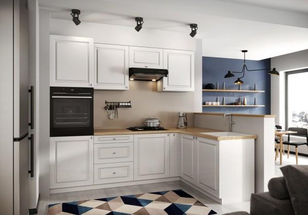 Rohové kuchyně Rohová kuchyně Amelia pravý roh 255x170 cm (bílá matná)