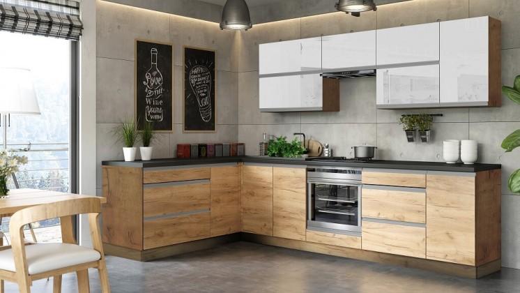 Rohové kuchyně Rohová kuchyně Brick light levý roh 300x182 cm (bílá lesk/craft)