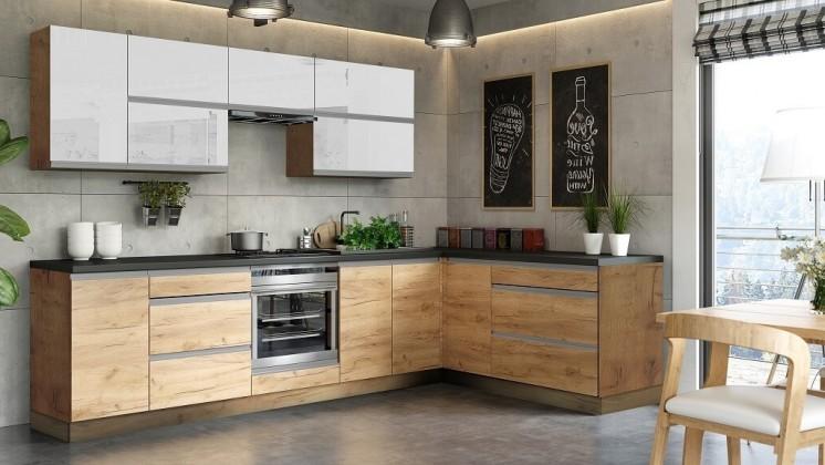 Rohové kuchyně Rohová kuchyně Brick light pravý roh 300x182 cm(bílá lesk/craft)