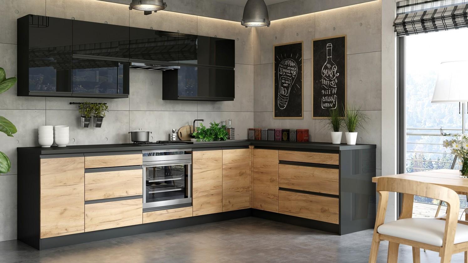 Rohové kuchyně Rohová kuchyně Brick pravý roh 300x182 cm (černá lesk/craft)