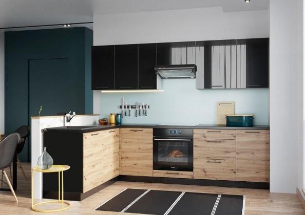 Rohové kuchyně Rohová kuchyně Dixie levý roh 275x180 cm (černá/dub)