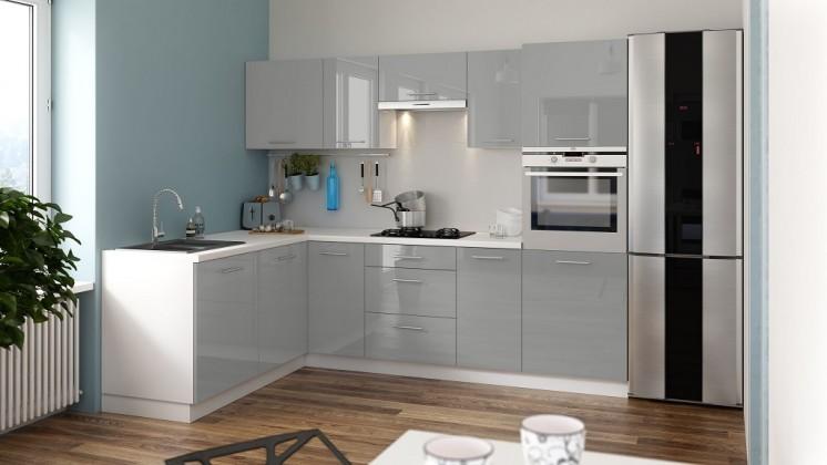 Rohové kuchyně Rohová kuchyně Emilia Lux levý roh 260x180 cm (šedá lesk)