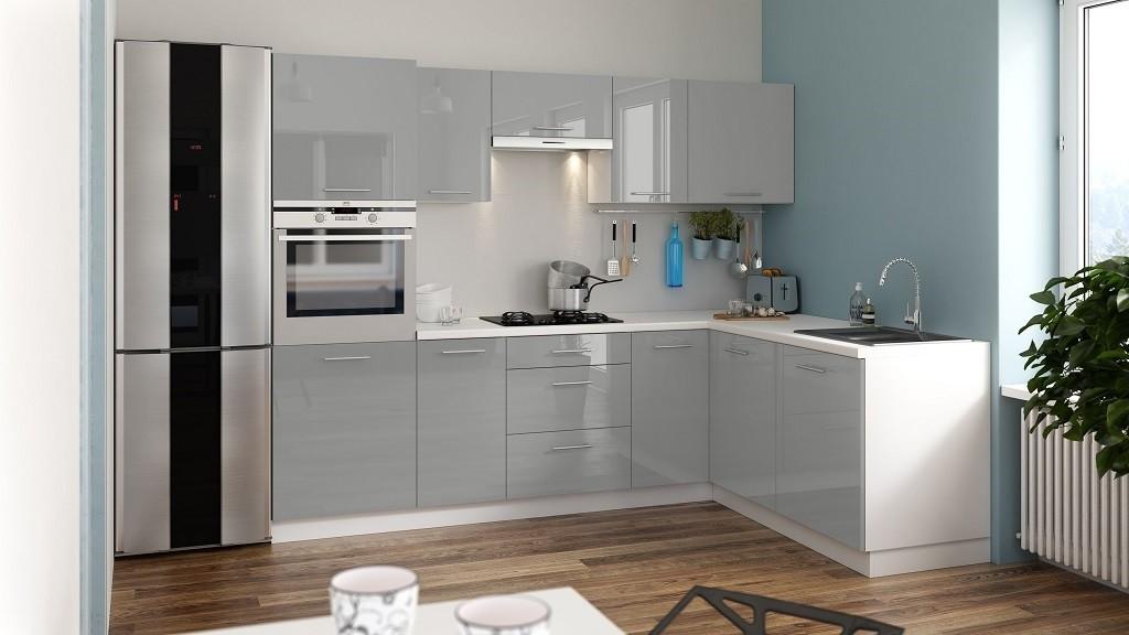 Rohové kuchyně Rohová kuchyně Emilia Lux pravý roh 260x180 cm (šedá lesk)