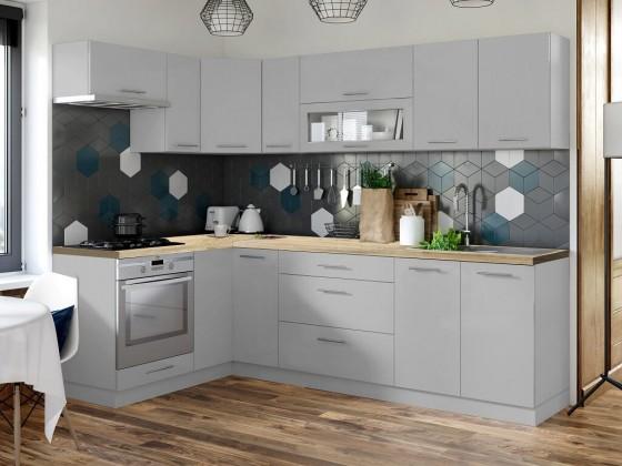 Rohové kuchyně Rohová kuchyně Emilia mat levý roh 243x143 cm (šedá mat)