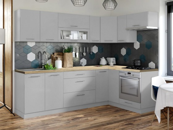 Rohové kuchyně Rohová kuchyně Emilia mat pravý roh 243x143 cm (šedá mat)