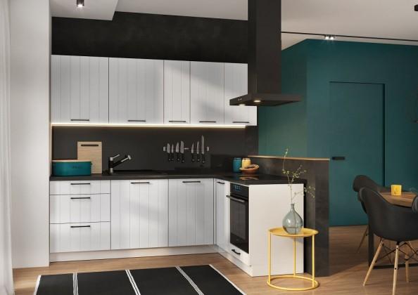 Rohové kuchyně Rohová kuchyně Grace pravý roh 230x160 cm (bílá mat)