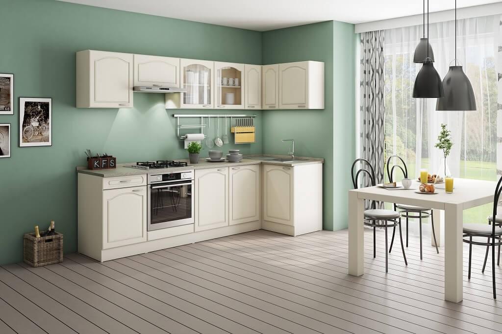 Rohové kuchyně Rohová kuchyně Julia pravý roh 270x110 cm vanilka/magnolie/písek