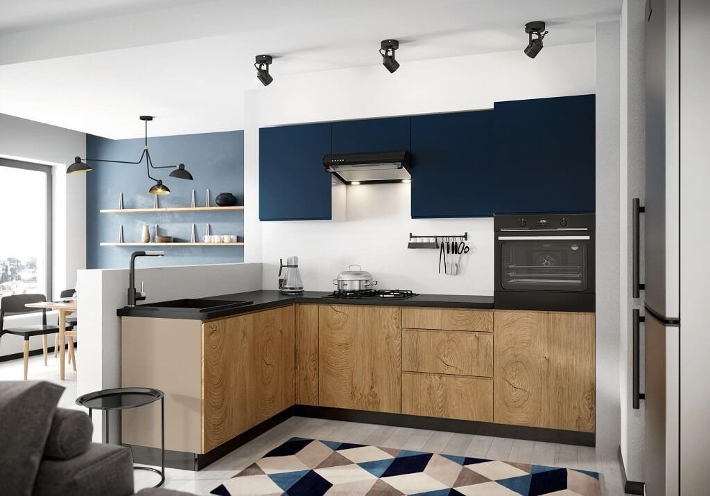 Rohové kuchyně Rohová kuchyně Leya levý roh 255x170 cm (modrá mat/dřevo)