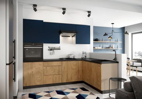 Rohové kuchyně Rohová kuchyně Leya pravý roh 255x170 cm (modrá mat/dřevo)