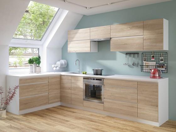 Rohové kuchyně Rohová kuchyně Line levý roh 320x180 cm (dub sonoma/bílá)