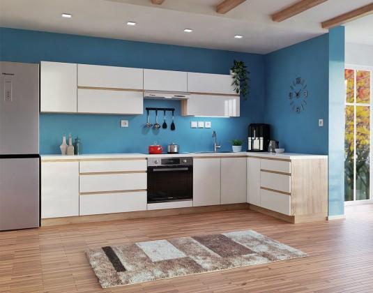 Rohové kuchyně Rohová kuchyně Line pravý roh 320x180 cm (bílá lesk/dub sonoma)
