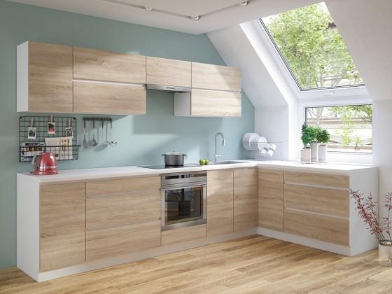 Rohové kuchyně Rohová kuchyně Line pravý roh 320x180 cm (dub sonoma/bílá)