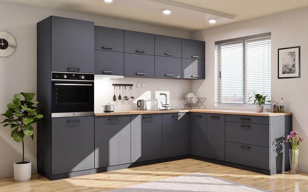 Rohové kuchyně Rohová kuchyně Lisa pravý roh 300x220 cm (šedá)