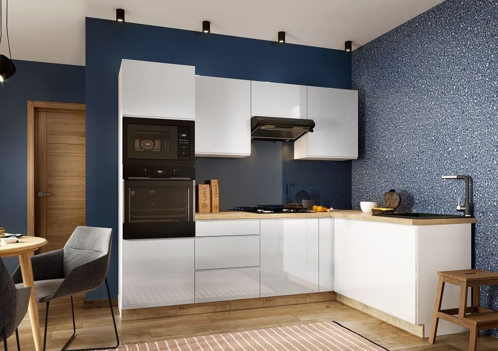 Rohové kuchyně Rohová kuchyně Lisse pravý roh 255x170 cm (bílá lesk)