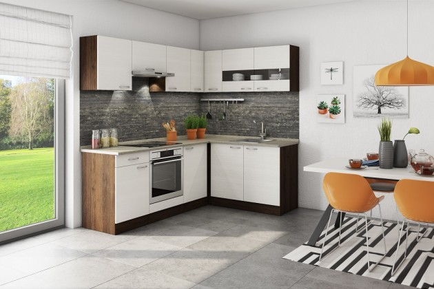 Rohové kuchyně Rohová kuchyně Nina pravý roh 220x160 cm (béžová/dub tmavý/písek)
