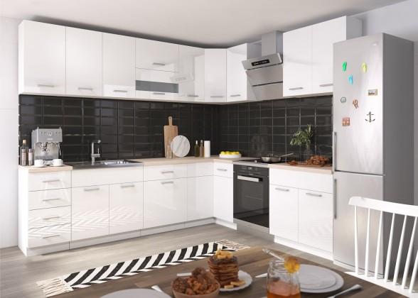 Rohové kuchyně Rohová kuchyně Rio levý roh 270x170 cm (bílá lesk/dub sonoma)