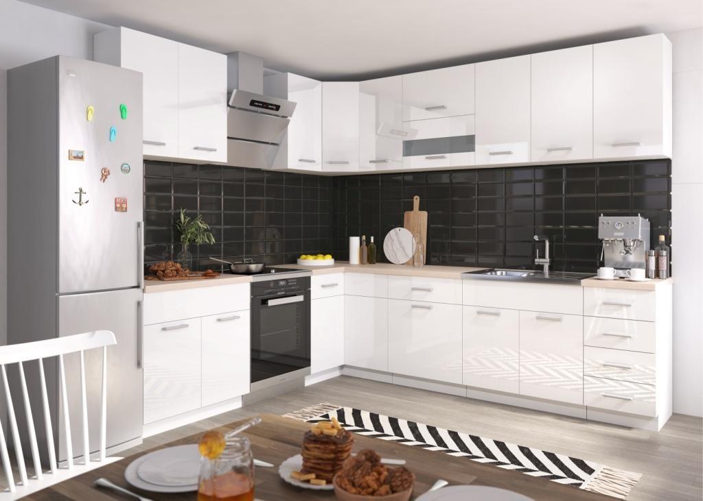 Rohové kuchyně Rohová kuchyně Rio pravý roh 270x170 cm (bílá lesk/dub sonoma)