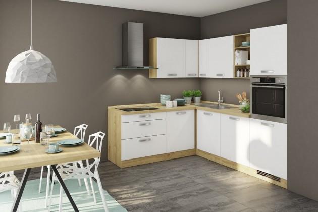 Rohové kuchyně Rohová kuchyně Sabrina levý roh 240x200 cm (bílá/dub arlington)