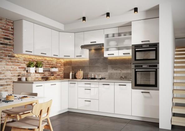 Rohové kuchyně Rohová kuchyně Vicky levý roh 290x180 cm (bílá vysoký lesk)