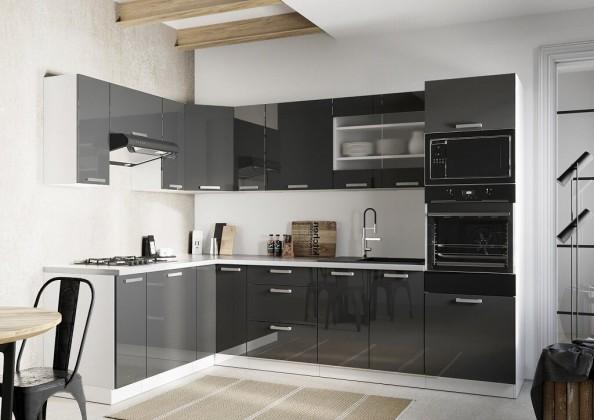 Rohové kuchyně Rohová kuchyně Vicky levý roh 290x180 cm (šedá lesk)