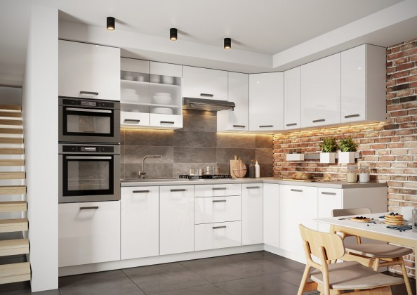Rohové kuchyně Rohová kuchyně Vicky pravý roh 290x180 cm (bílá vysoký lesk)