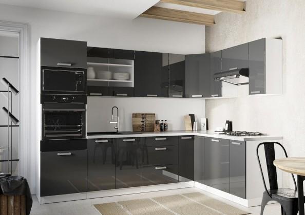 Rohové kuchyně Rohová kuchyně Vicky pravý roh 290x180 cm (šedá lesk)
