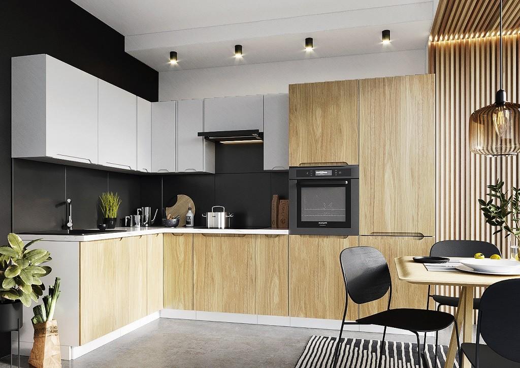 Rohové kuchyně Rohová kuchyně Zoya levý roh 300x180 cm (šedá/dřevo)