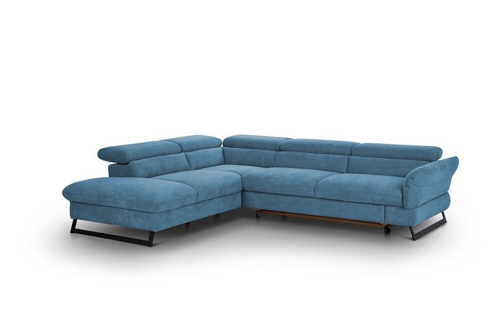 Rohové sedací soupravy rozkládací Rohová sedačka rozkládací Naples levý roh modrá