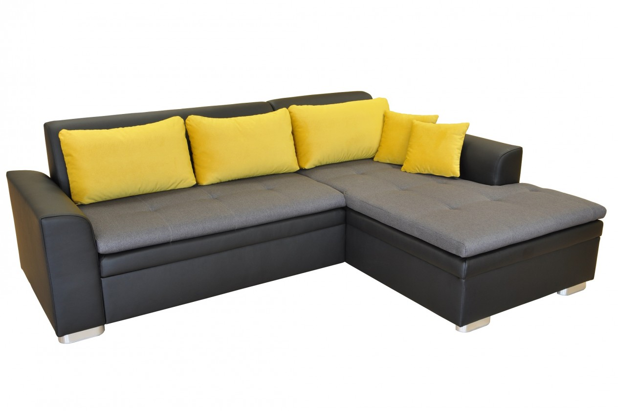 Rohové sedací soupravy rozkládací Rohová sedačka rozkládací Vanilla pravý roh ÚP černá šedá, žlutá