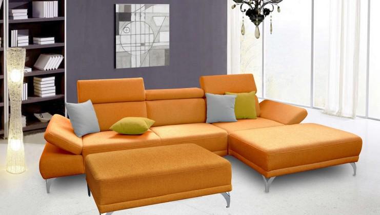 Rohové sedací soupravy rozkládací Rohová sedačka Soni s taburetem pravý roh oranžová