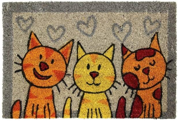 Rohožky Kokosová rohožka Tři kočky (40x60 cm)