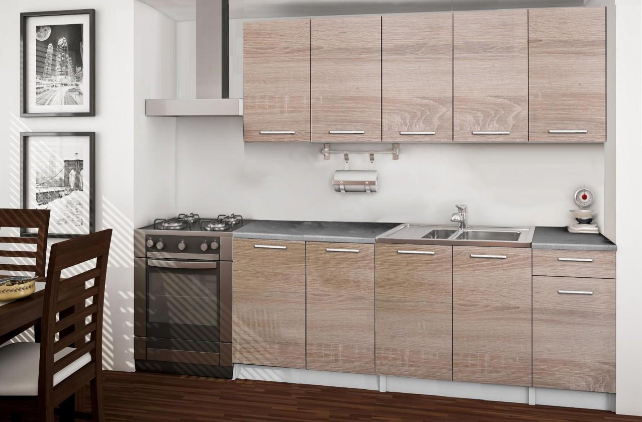Rovná Basic - kuchyňský blok A, 200 cm (dub sonoma)
