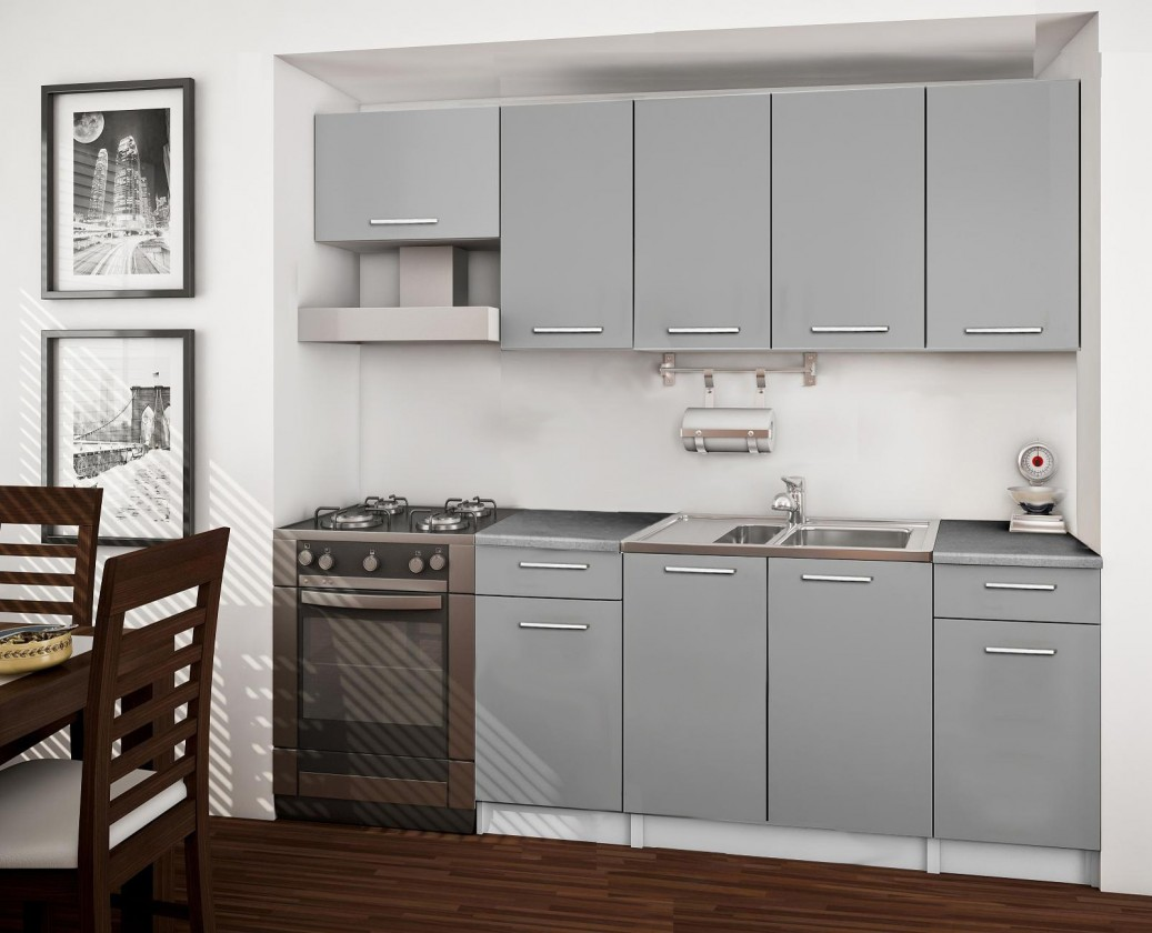 Rovná Basic - kuchyňský blok A, 220 cm (šedá)