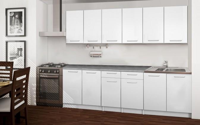 Rovná Basic - kuchyňský blok A, 240 cm (bílá)