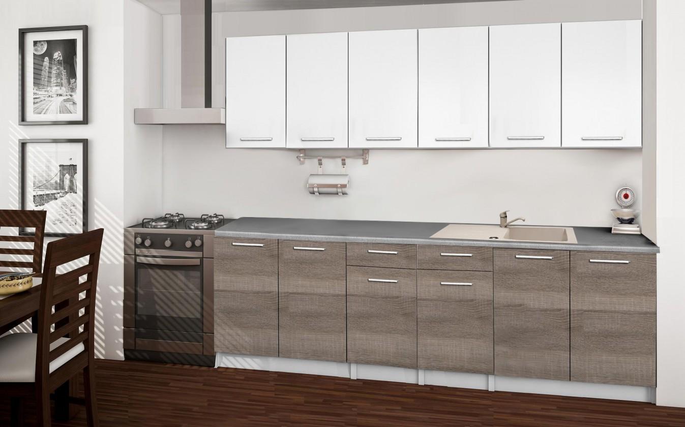 Rovná Basic - Kuchyňský blok A, 240 cm (bílá, trufle, titan)