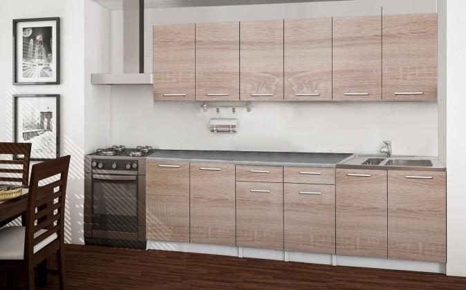 Rovná Basic - kuchyňský blok A, 240 cm (dub sonoma)