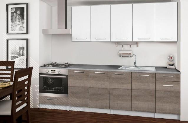 Rovná Basic - Kuchyňský blok A, 260/200 cm (bílá, trufle, titan)