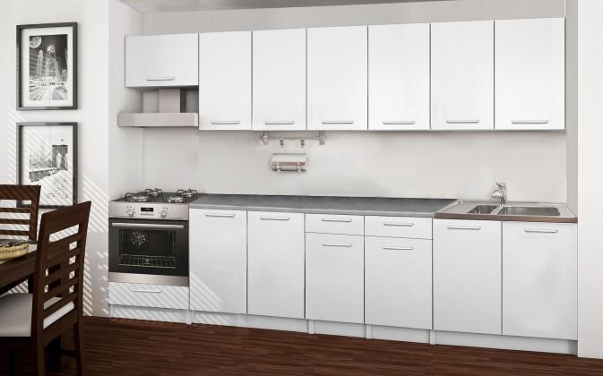 Rovná Basic - kuchyňský blok A, 300 cm (bílá)