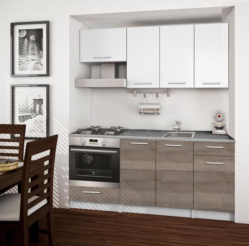 Rovná Basic - Kuchyňský blok B, 180 cm (bílá, trufle, titan)