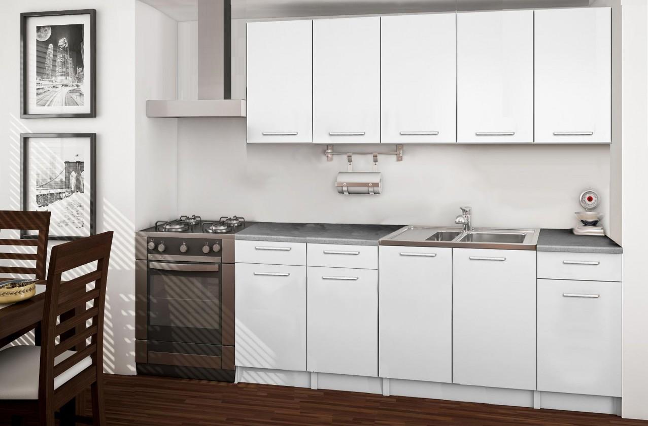 Rovná Basic - kuchyňský blok B, 200 cm (bílá)