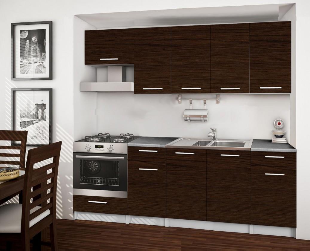Rovná Basic - kuchyňský blok B, 220 cm (wenge)