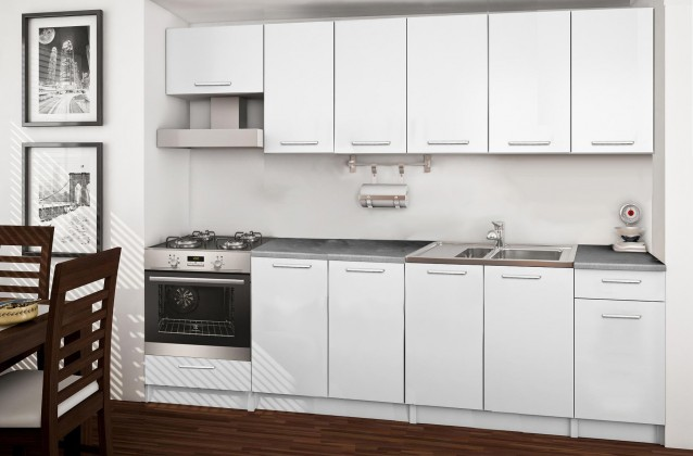 Rovná Basic - kuchyňský blok B, 260 cm (bílá)
