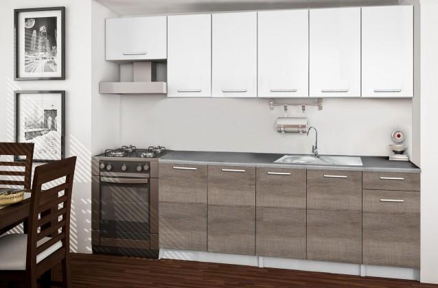 Rovná Basic - Kuchyňský blok C, 260/200 cm (bílá, trufle, titan)