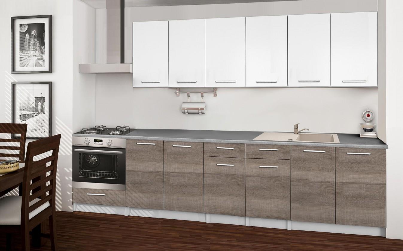 Rovná Basic - Kuchyňský blok C, 300/240 cm (bílá, trufle, titan)
