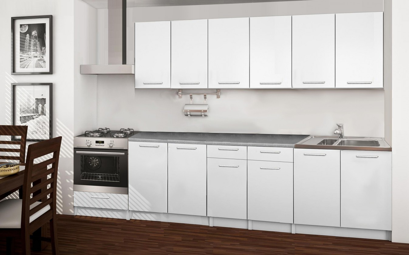 Rovná Basic - kuchyňský blok C, 300 cm (bílá)