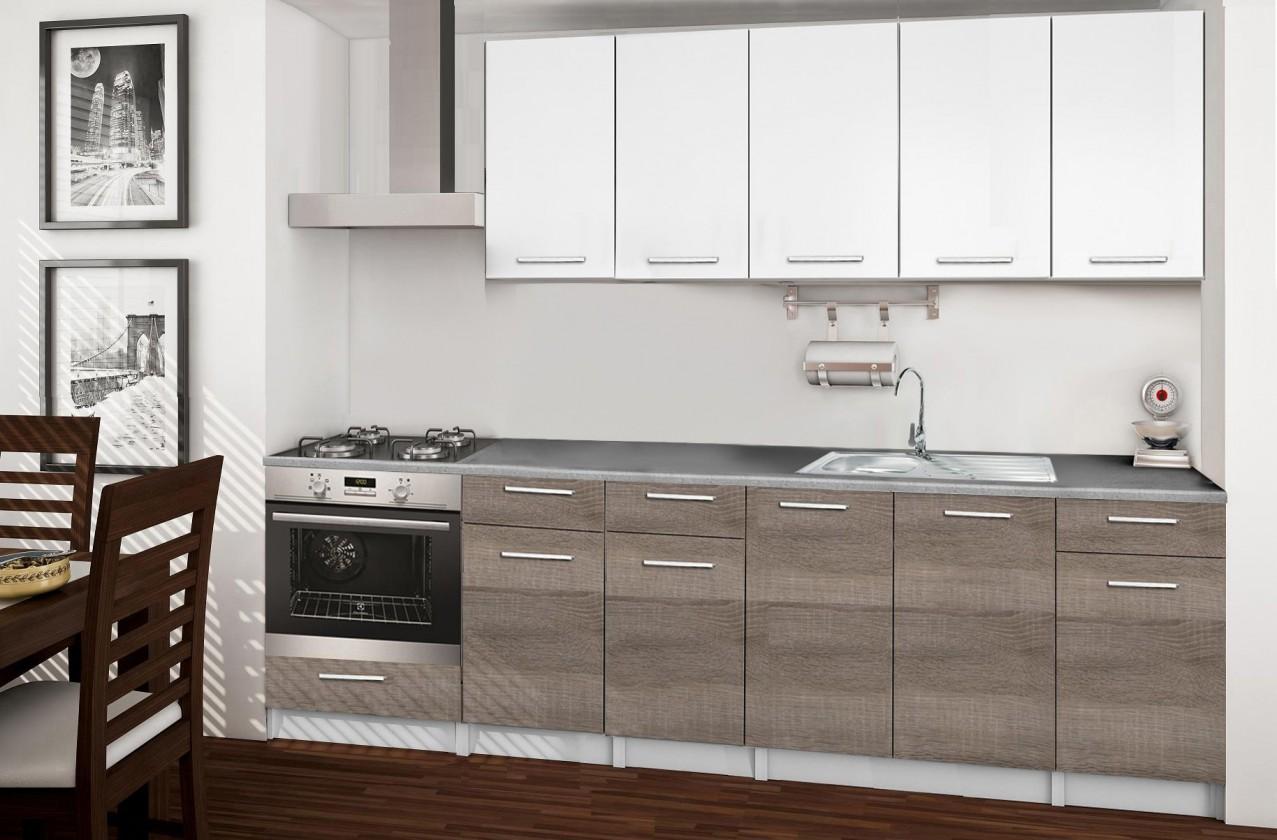 Rovná Basic - Kuchyňský blok D, 260/200 cm (bílá, trufle, titan)