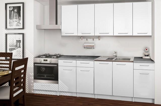 Rovná Basic - kuchyňský blok D, 260 cm (bílá)
