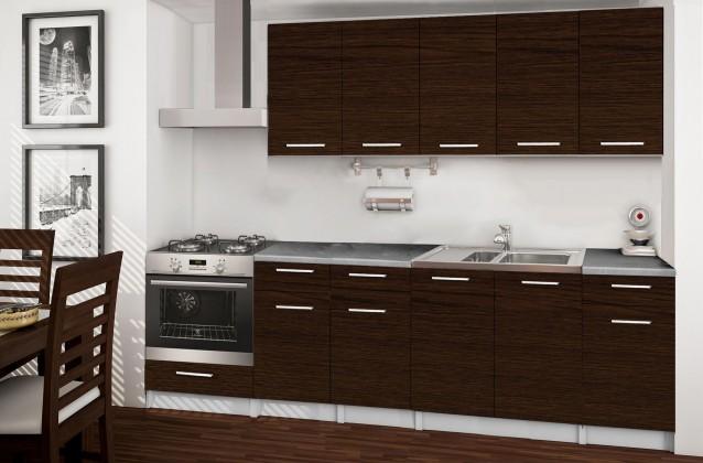 Rovná Basic - kuchyňský blok D, 260 cm (wenge)